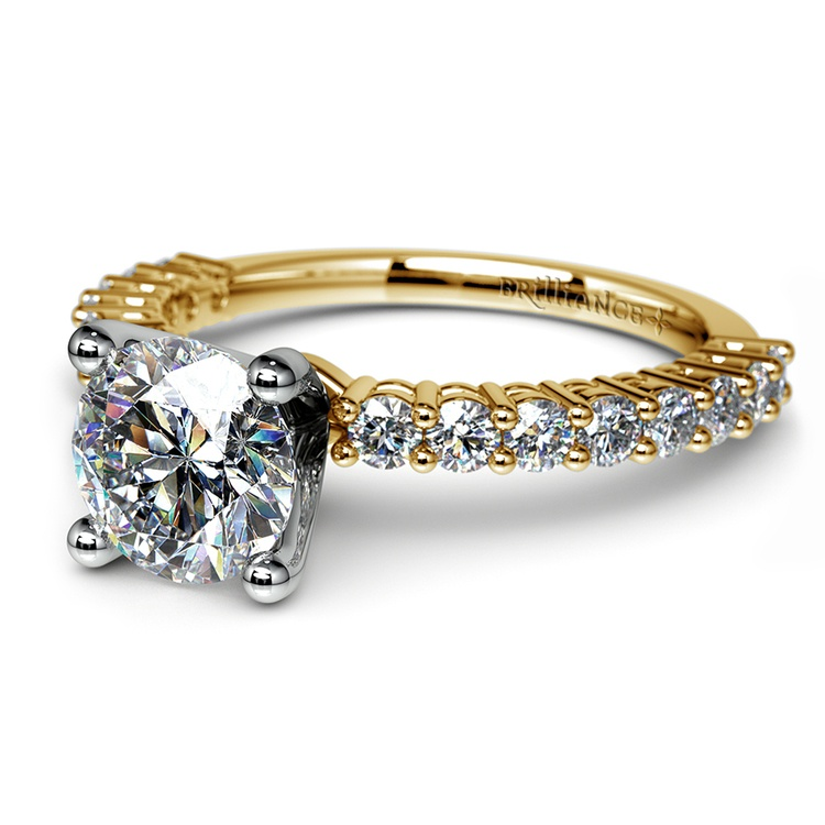 Shared Prong Diamond Engagement Ring in Yellow Gold (1/2 ctw) | 04