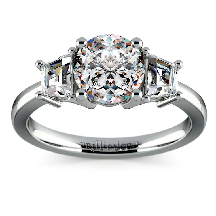 Trapezoid Diamond Engagement Ring in White Gold (1/2 ctw) | 01