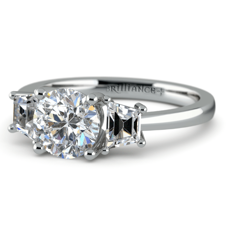 Trapezoid Diamond Engagement Ring in White Gold (1/2 ctw) | 04
