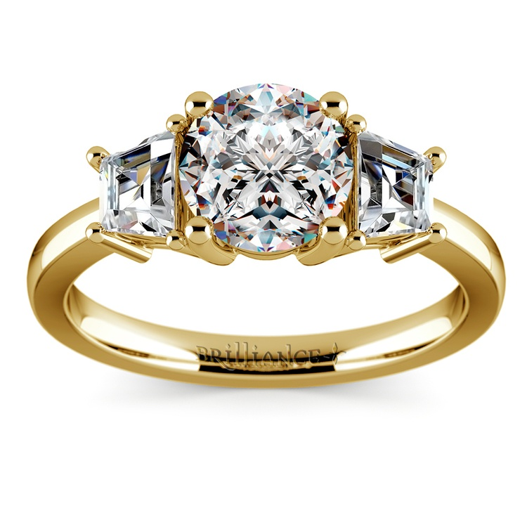 Trapezoid Diamond Engagement Ring in Yellow Gold (1/2 ctw) | 01