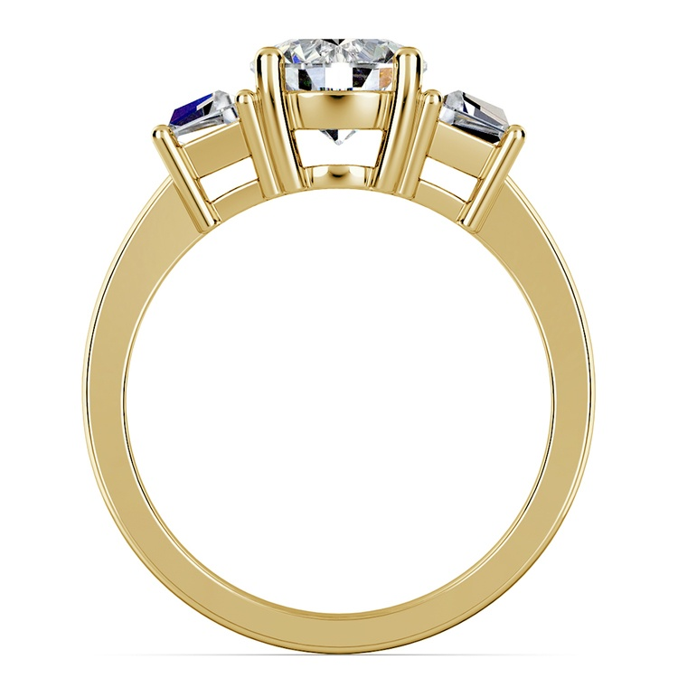 Trapezoid Diamond Engagement Ring in Yellow Gold (1/2 ctw) | 02