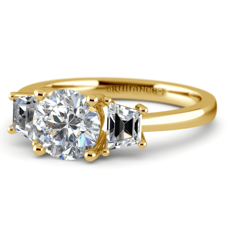 Trapezoid Diamond Engagement Ring in Yellow Gold (1/2 ctw) | 04