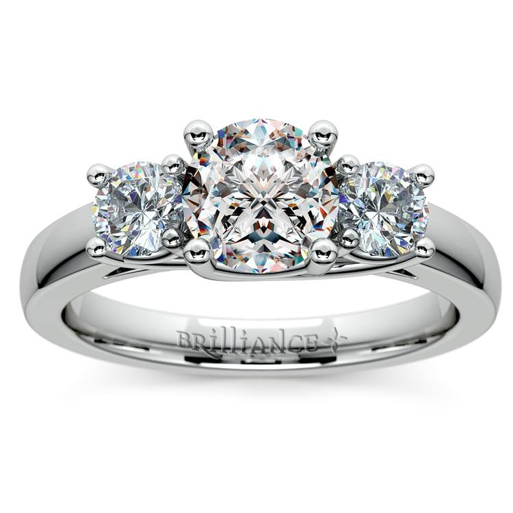 Trellis Three Diamond Engagement Ring in White Gold (1/2 ctw) | 01