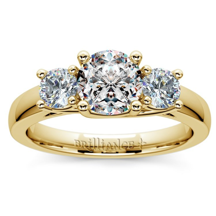 Trellis Three Diamond Engagement Ring in Yellow Gold (1/2 ctw) | 01