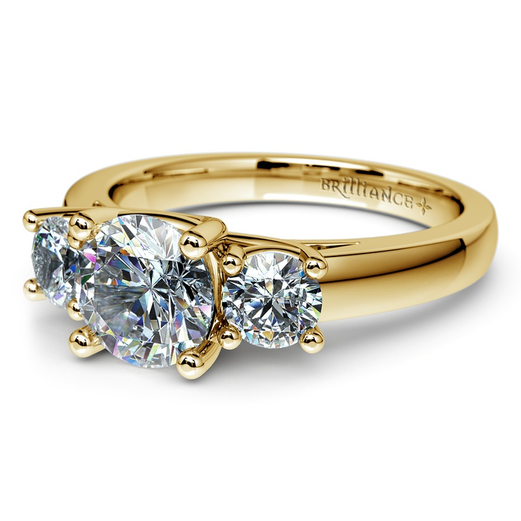 Trellis Three Diamond Engagement Ring in Yellow Gold (1/2 ctw) | 04