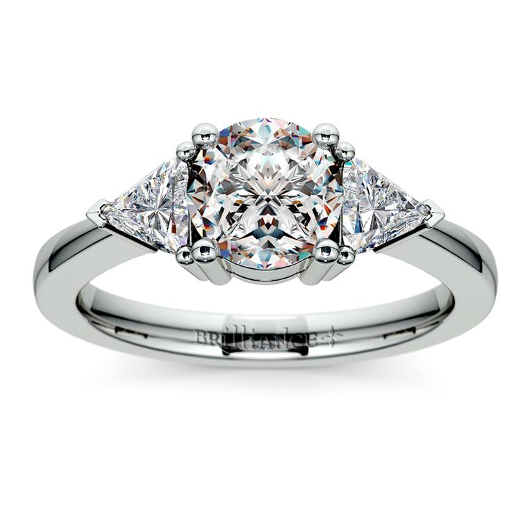 Trillion Diamond Engagement Ring in White Gold (1/2 ctw) | 01