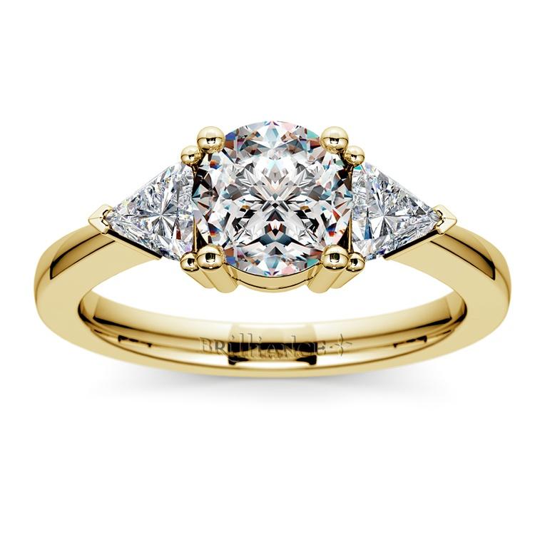 Trillion Diamond Engagement Ring in Yellow Gold (1/2 ctw) | 01