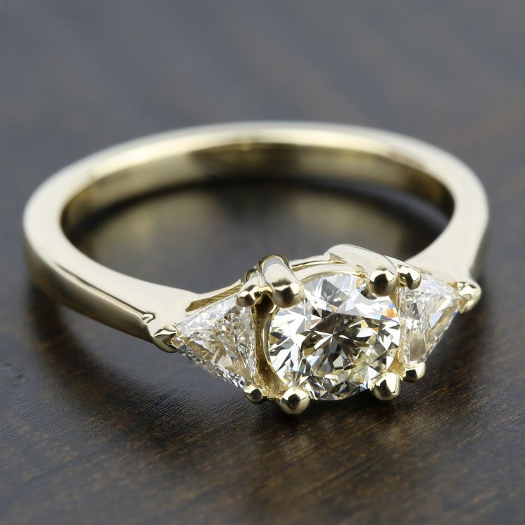 Trillion Diamond Engagement Ring in Yellow Gold (1/2 ctw) | 05