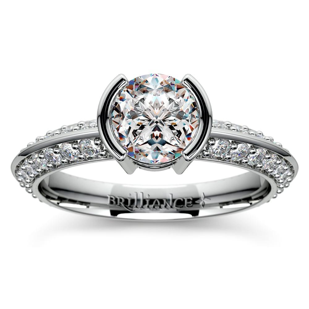 Half Bezel Knife Edge Diamond Engagement Ring In Platinum