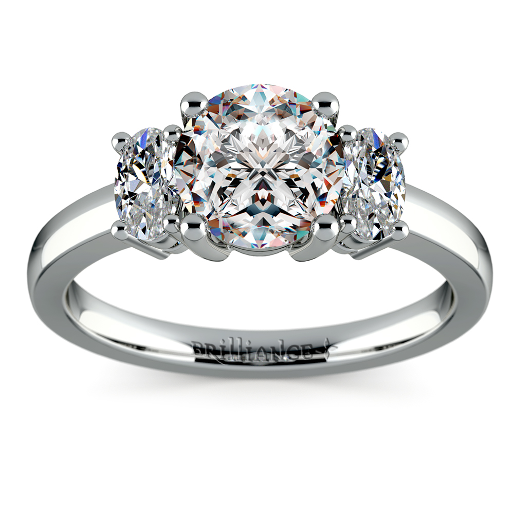 Oval Diamond Engagement Ring in Platinum 1 2 ctw