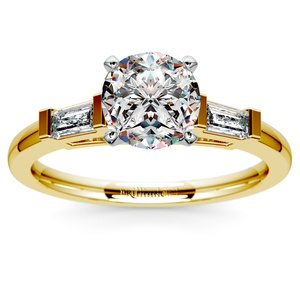 Baguette Diamond Engagement Ring in Yellow Gold (1/3 ctw)