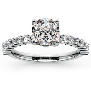 Shared Prong Diamond Engagement Ring in White Gold (1/3 ctw)