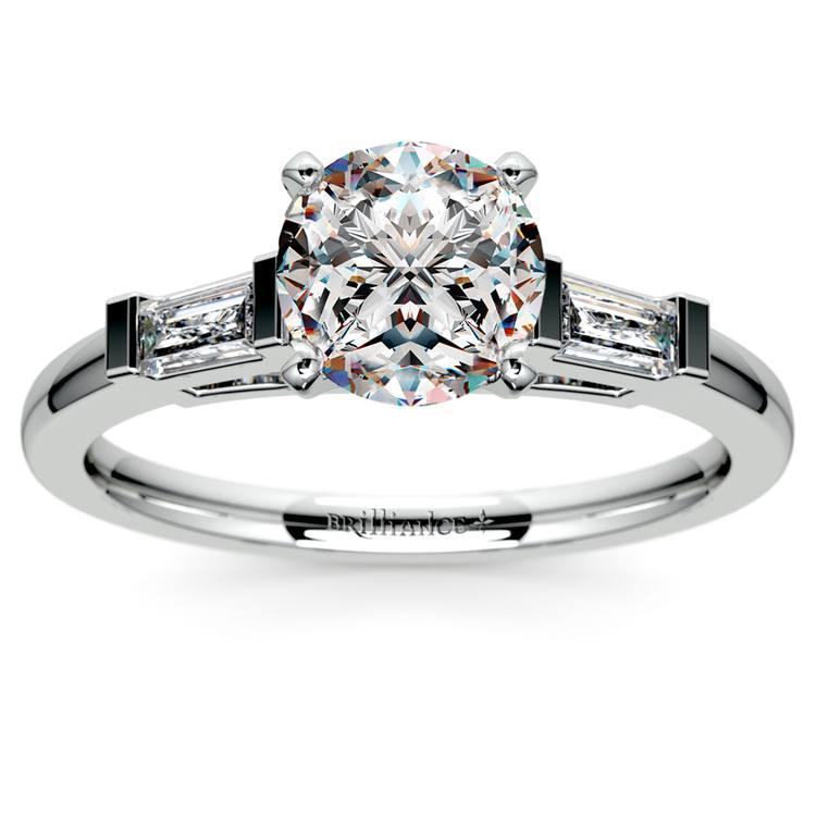 Baguette Diamond Engagement Ring in Platinum (1/3 ctw) | 01