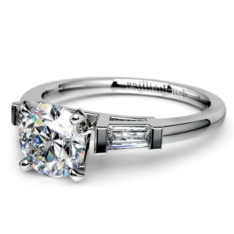 Baguette Diamond Engagement Ring in Platinum (1/3 ctw) | 04