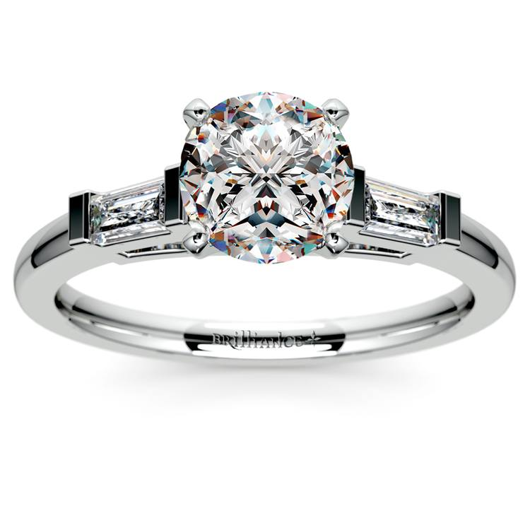 Baguette Diamond Engagement Ring in White Gold (1/3 ctw)   01