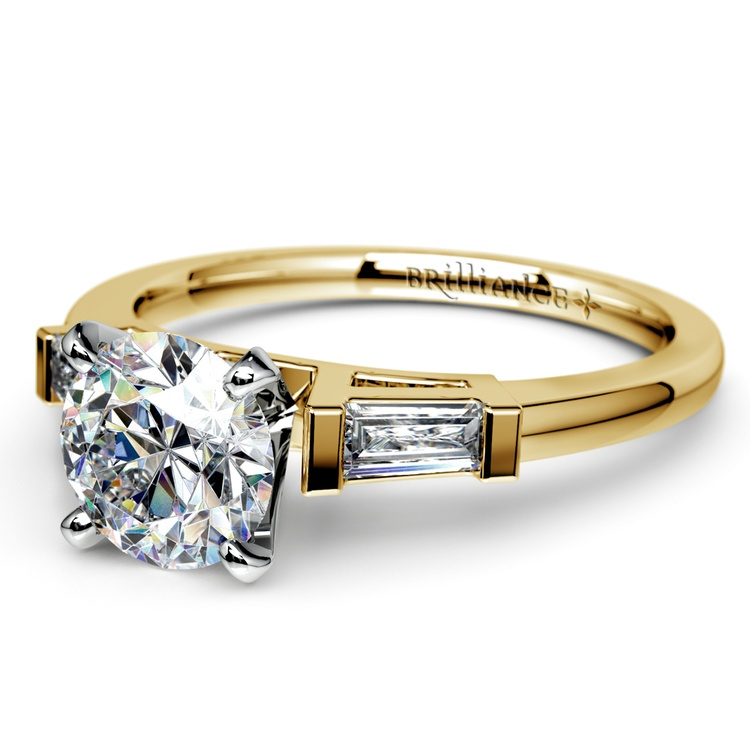 Baguette Diamond Engagement Ring in Yellow Gold (1/3 ctw) | 04