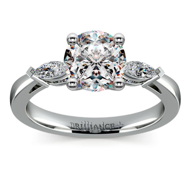 Marquise Diamond Engagement Ring in Platinum (1/3 ctw) | 01