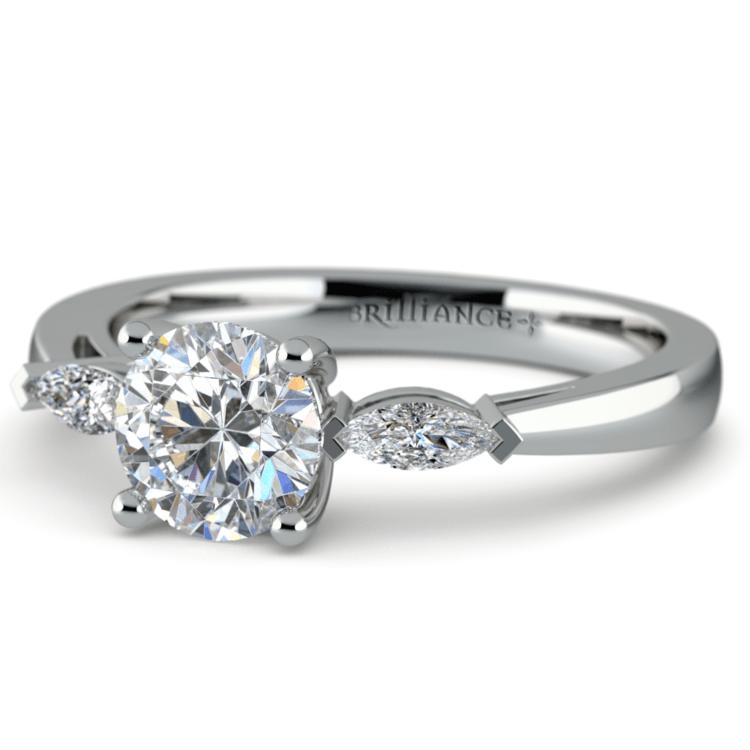 Marquise Diamond Engagement Ring in Platinum (1/3 ctw) | 04