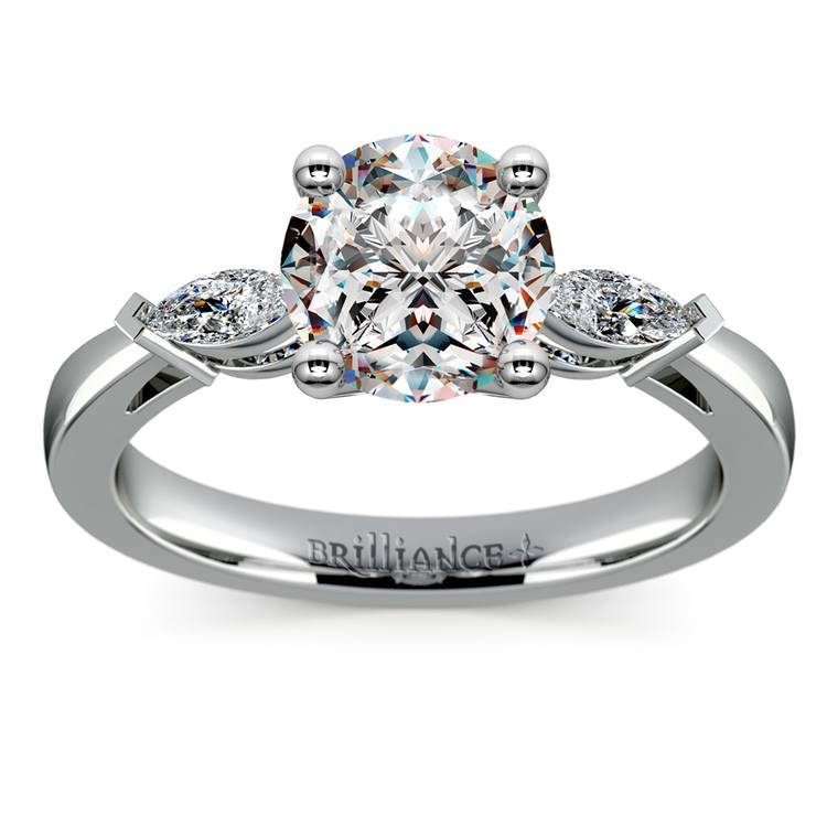 Marquise Diamond Engagement Ring in White Gold (1/3 ctw) | 01