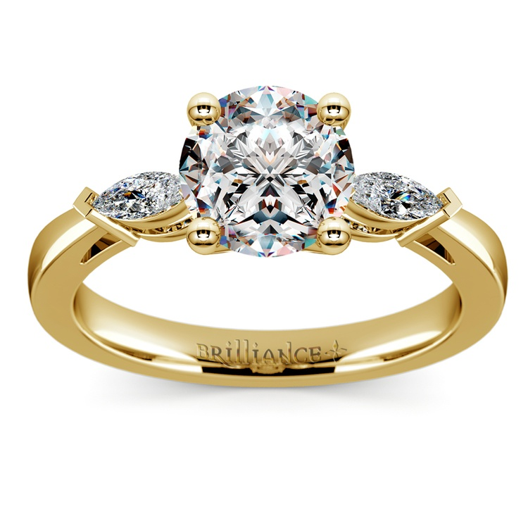 Marquise Diamond Engagement Ring in Yellow Gold (1/3 ctw) | 01