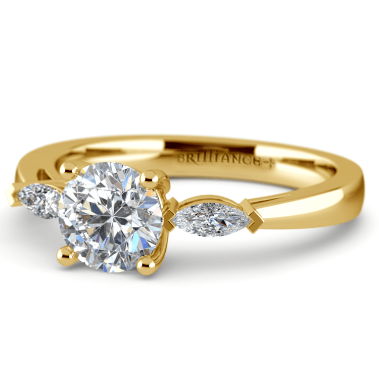 Marquise Diamond Engagement Ring in Yellow Gold (1/3 ctw) | 04