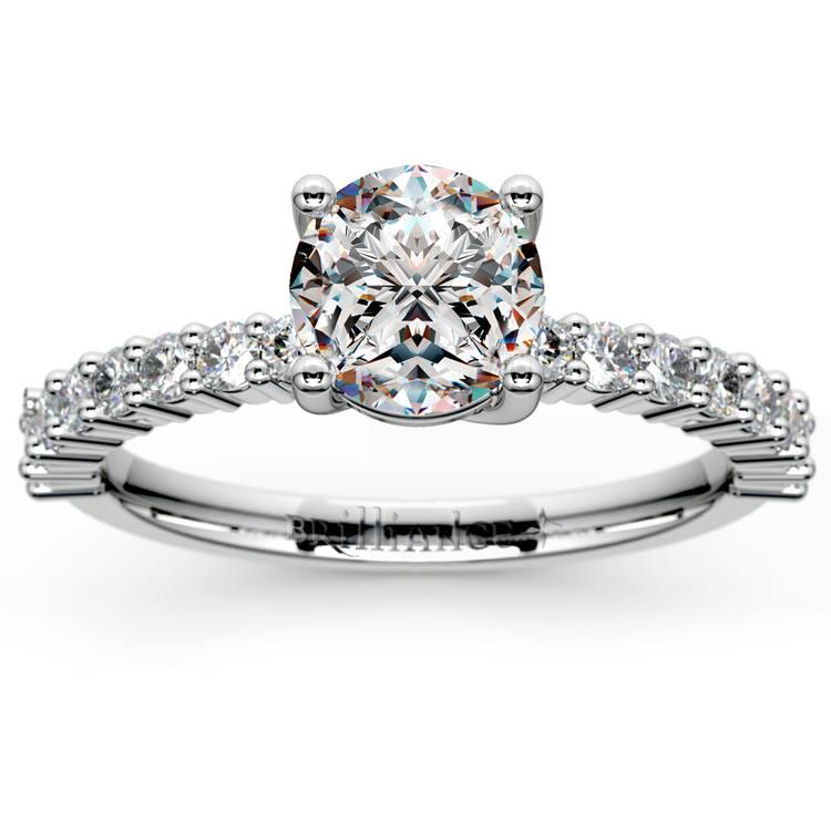 Shared Prong Diamond Engagement Ring in Palladium (1/3 ctw)  | 01