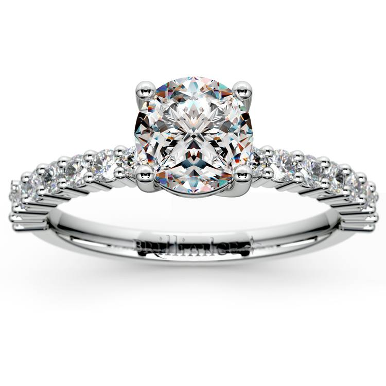 Shared Prong Diamond Engagement Ring in White Gold (1/3 ctw)    01