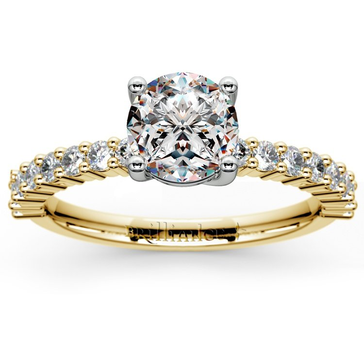 Shared Prong Diamond Engagement Ring in Yellow Gold (1/3 ctw) | 01