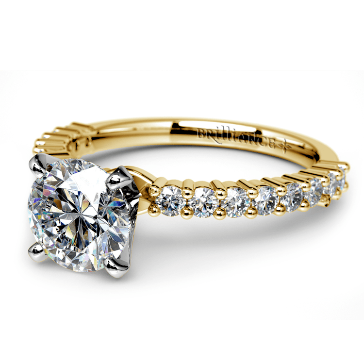Shared Prong Diamond Engagement Ring in Yellow Gold (1/3 ctw) | 04