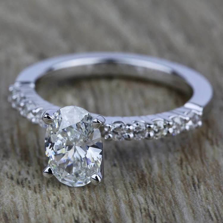 Shared Prong Diamond Engagement Ring in White Gold (1/3 ctw)    05
