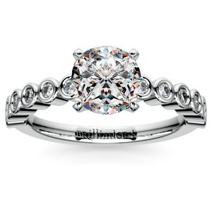 Bezel Diamond Engagement Ring in Palladium (1/4 ctw)