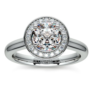 Halo Diamond Engagement Ring in Palladium (1/4 ctw)