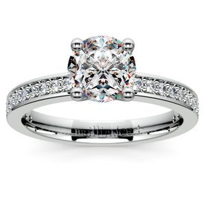 Pave Diamond Engagement Ring in White Gold (1/4 ctw)