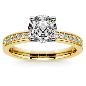 Pave Diamond Engagement Ring in Yellow Gold (1/4 ctw)