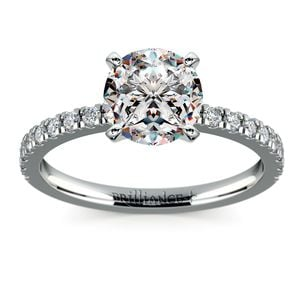 Petite Pave Solitaire Engagement Ring In Platinum (1/4 Ctw)