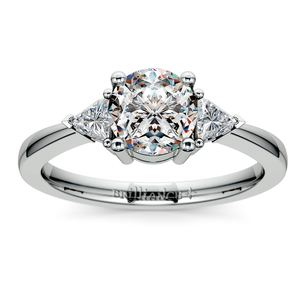Trillion Diamond Engagement Ring in White Gold (1/4 ctw)