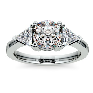 Trillion Diamond Engagement Ring in White Gold (3/4 ctw)