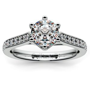 Tulip Pave Diamond Engagement Ring in Platinum (1/4 ctw)