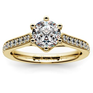 Tulip Pave Diamond Engagement Ring in Yellow Gold (1/4 ctw)