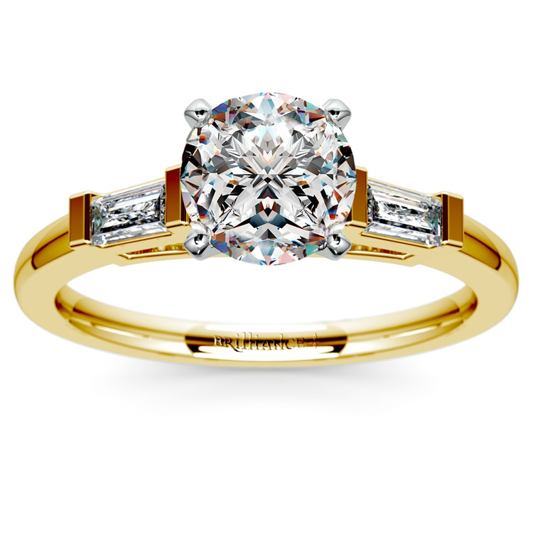 Baguette Diamond Engagement Ring in Yellow Gold (1/4 ctw) | 01
