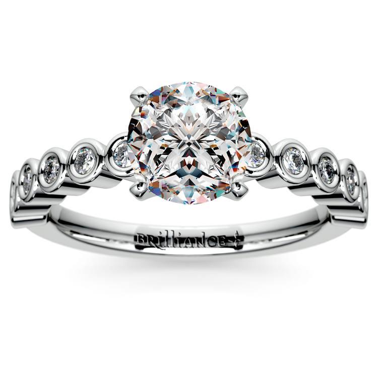 Bezel Diamond Engagement Ring in Palladium (1/4 ctw) | 01