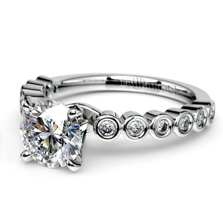 Bezel Diamond Engagement Ring in Palladium (1/4 ctw) | 04