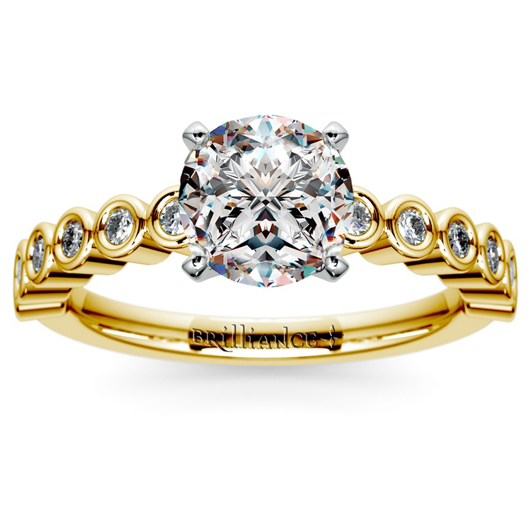 Bezel Diamond Engagement Ring in Yellow Gold (1/4 ctw) | 01