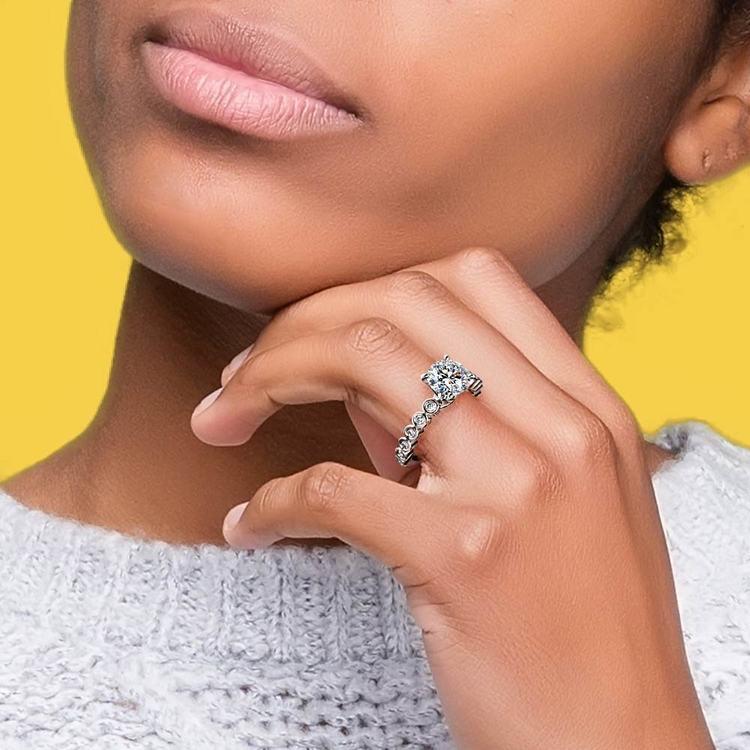 Bezel Diamond Engagement Ring in Palladium (1/4 ctw) | 06