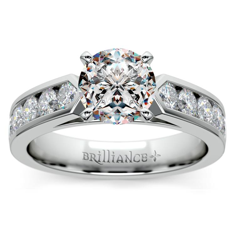 Channel Diamond Engagement Ring in White Gold (3/4 ctw) | 01