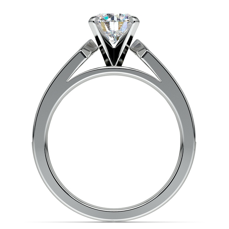 Channel Diamond Engagement Ring in White Gold (3/4 ctw) | 02