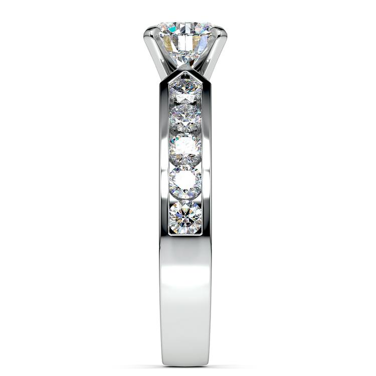 Channel Diamond Engagement Ring in White Gold (3/4 ctw) | 03