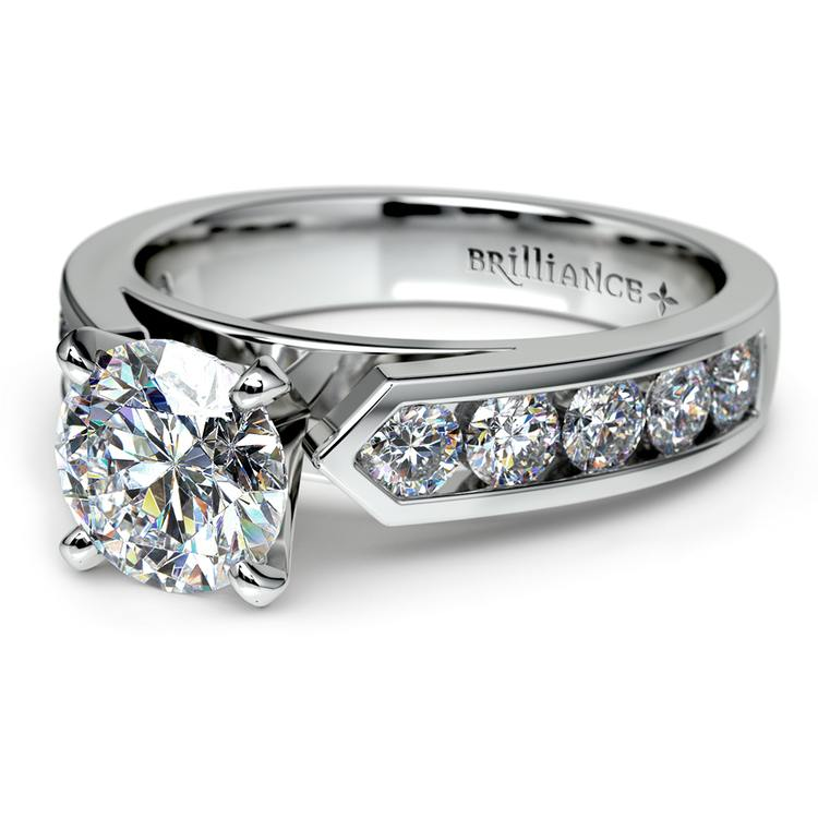 Channel Diamond Engagement Ring in White Gold (3/4 ctw)   04