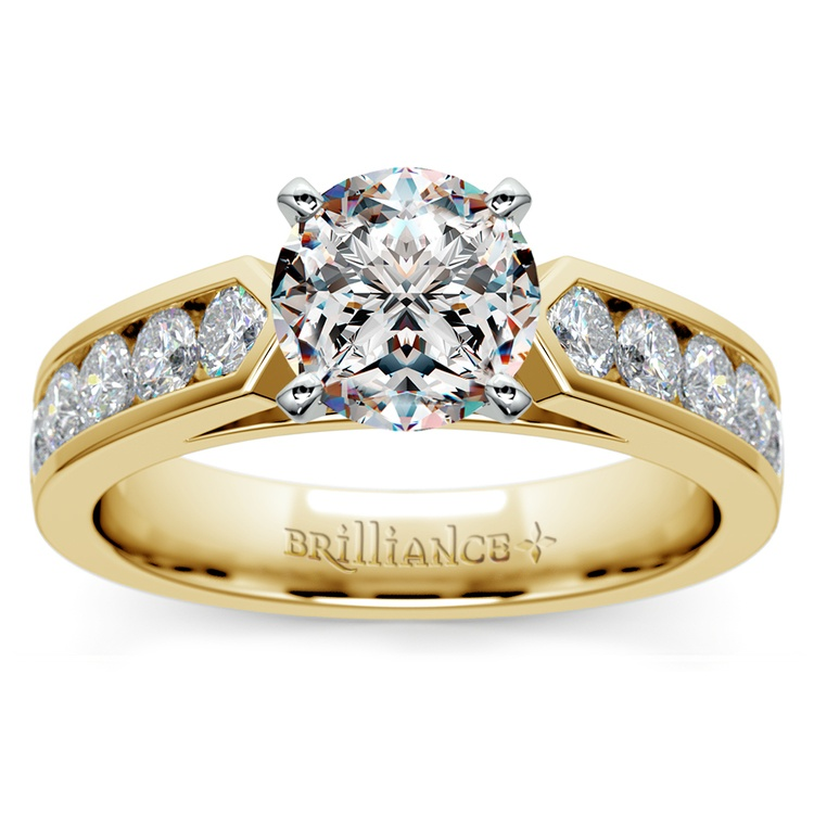Channel Diamond Engagement Ring in Yellow Gold (3/4 ctw) | 01