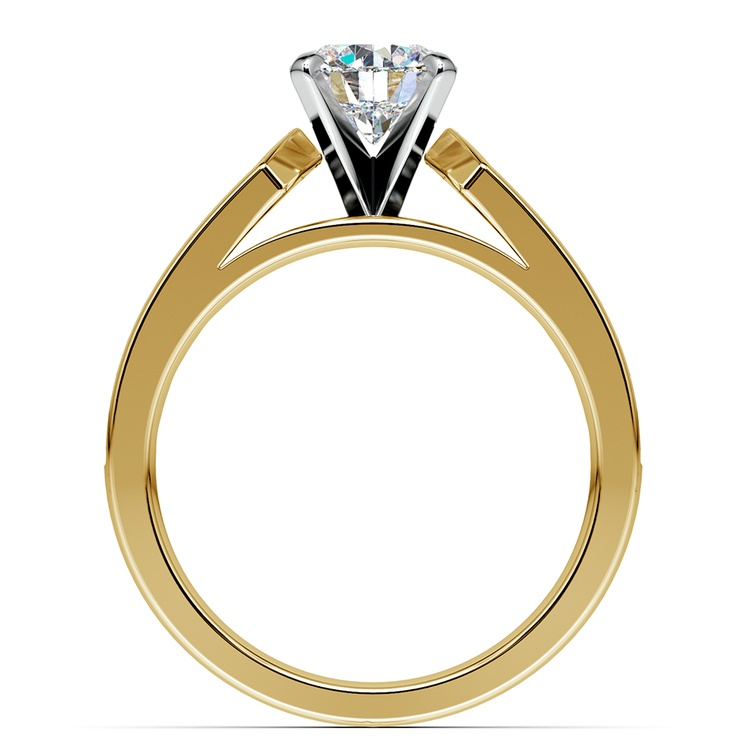 Channel Diamond Engagement Ring in Yellow Gold (3/4 ctw) | 02